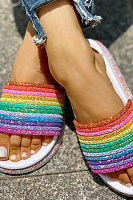 Rainbow Thick-Soled Sandals