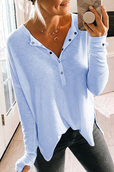 V-neck solid color long sleeve sweater