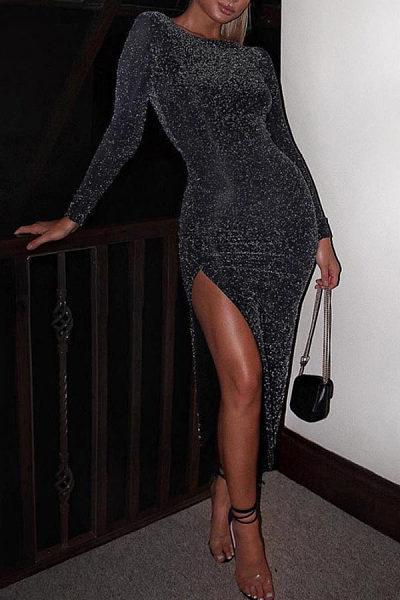 15043cfeb0 Round Neck High Slit Plain Long Sleeve Maxi Dresses - Luvyle.com