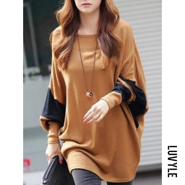 Camel Oversized Color Block Batwing Sleeve T-Shirt Camel Oversized Color Block Batwing Sleeve T-Shirt