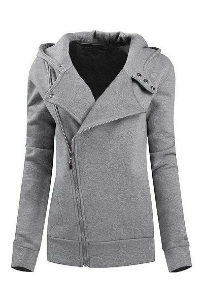 Hooded  Patchwork Zipper  Plain Hoodies