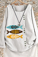 Long Sleeve Casual Fish Print Shirt