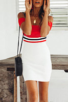 Off Shoulder  Backless  Patchwork  Short Sleeve Bodycon Dresses