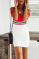 Off Shoulder  Backless  Patchwork  Short Sleeve Bodycon Dresses