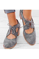 Plain Chunky Mid Heeled Criss Cross Round Toe Date Outdoor Pumps