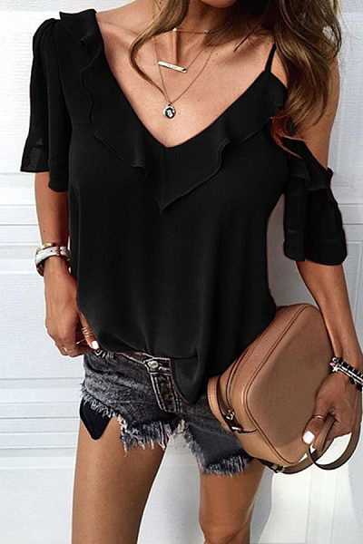 Sexy Solid Color Irregular Flounces Sling Shirt