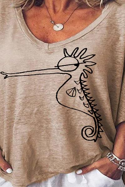 V Neck  Animal Prints T-Shirts