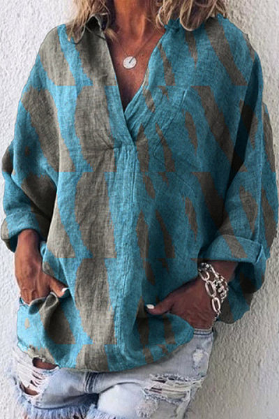 V Neck Long Sleeve Printed Blouse