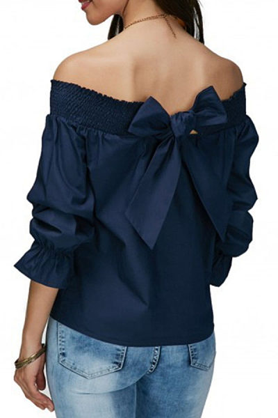 Off Shoulder  Bowknot  Plain Blouses