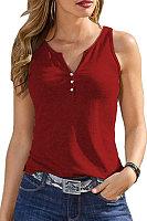 V Neck Plain Sleeveless T-shirt