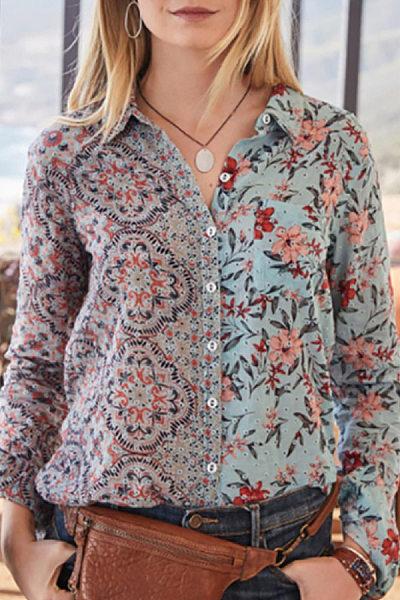 Women's Casual Colorblock Print Shirt