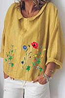 Floral  Cuffed collar Loose Blouse