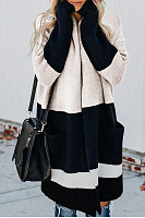 Casual Splicing Contrast Color Pocket Cardigan