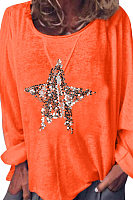 Round Neck Star Printed T-Shirts
