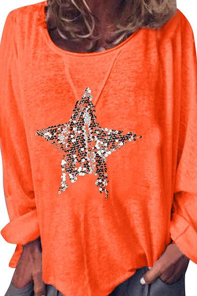 Round Neck Star Printed T-Shirts