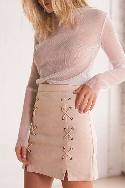 Lace Up Slit Zipper  Plain Skirts