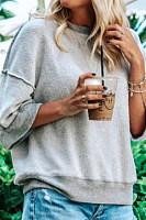 Women's Casual Loose Solid Color Cotton Blend Round Neck Sweatshirt