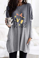 Bee Print Gradient Long Sleeve Casual Pocket T-shirt
