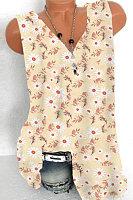 Plus Size V Neck Sleeveless Daisy Print Tank Top