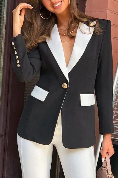 Brief Casual Color Block Lapel Suit