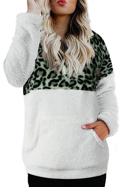 Women's Leopard Printed Colorblock Sweatshirt