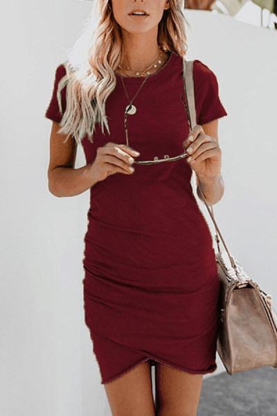 Dresses Sleeve Halter Asymmetric Bodycon Hem Short shops