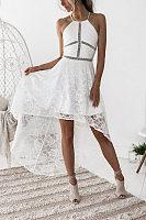 Halter  Asymmetric Hem Skater Dresses