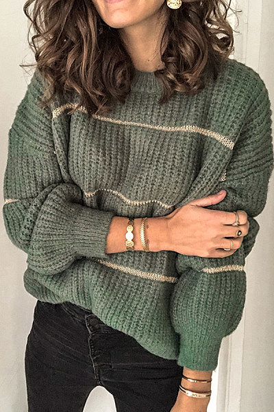 Casual Women Round Neck Striped Sweater
