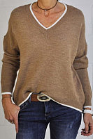 V Neck Color Block Casual Sweater