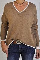 V Neck Color Block Casual Sweater