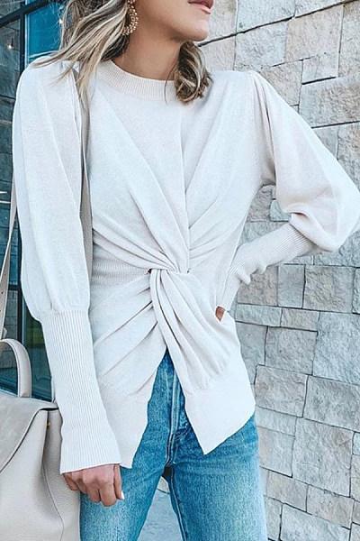 Plain Knot Long Sleeve Sweater