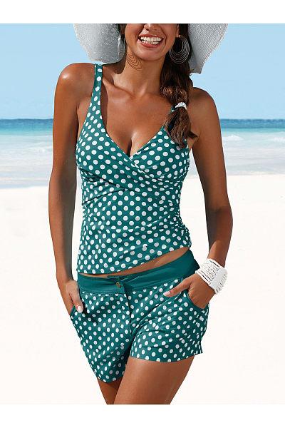 Deep V-Neck  Polka Dot  Mid-Rise Swimwear