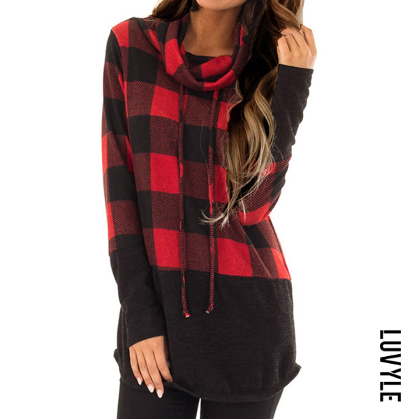 Red Heap Collar Patchwork Casual Plaid Long Sleeve T-Shirt Red Heap Collar Patchwork Casual Plaid Long Sleeve T-Shirt