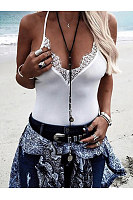Deep V-Neck  Cutout Decorative Lace See-Through  Crochet  Lace Sleeveless T-Shirts
