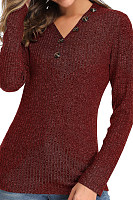 V Neck  Brief  Plain  Long Sleeve  Knit Pullover