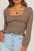 Asymmetric Neck  Leopard  Long Sleeve Blouses