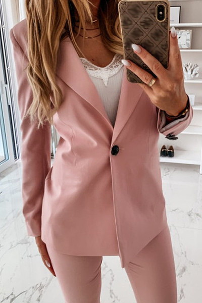 Solid One Button Casual Blazer
