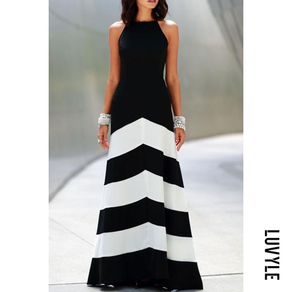 Black Backless Color Block Wave Stripe Sleeveless Maxi Dresses Black Backless Color Block Wave Stripe Sleeveless Maxi Dresses