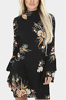 High Neck  Floral Printed  Bell Sleeve  Long Sleeve Casual Dresses