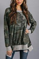 Round Neck  Asymmetric Hem Zipper  Camouflage  Sweatshirts