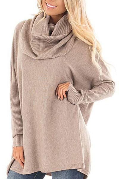 Cowl Neck  Plain Sweaters