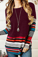 Round Neck Long Sleeve Striped T-Shirt