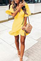 Surplice  Asymmetric Hem  Plain  Bell Sleeve  Short Sleeve Casual Dresses