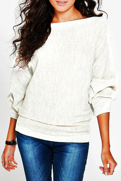 Round Neck  Plain  Batwing Sleeve Sweaters