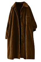 Fashion pure color lapel corduroy overcoat