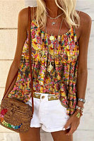 Round Neck  Printed Tank Top