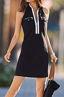 Casual Sleeveless Color Block Mini Dress