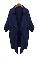 Lapel  Plain  Roll-Up Sleeve Trench Coat