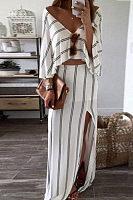 V Neck  Slit  Striped  Three Quarter Sleeve Maxi Dresses