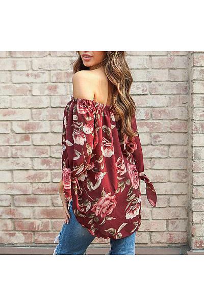 Floral Print Off Shoulder Blouse